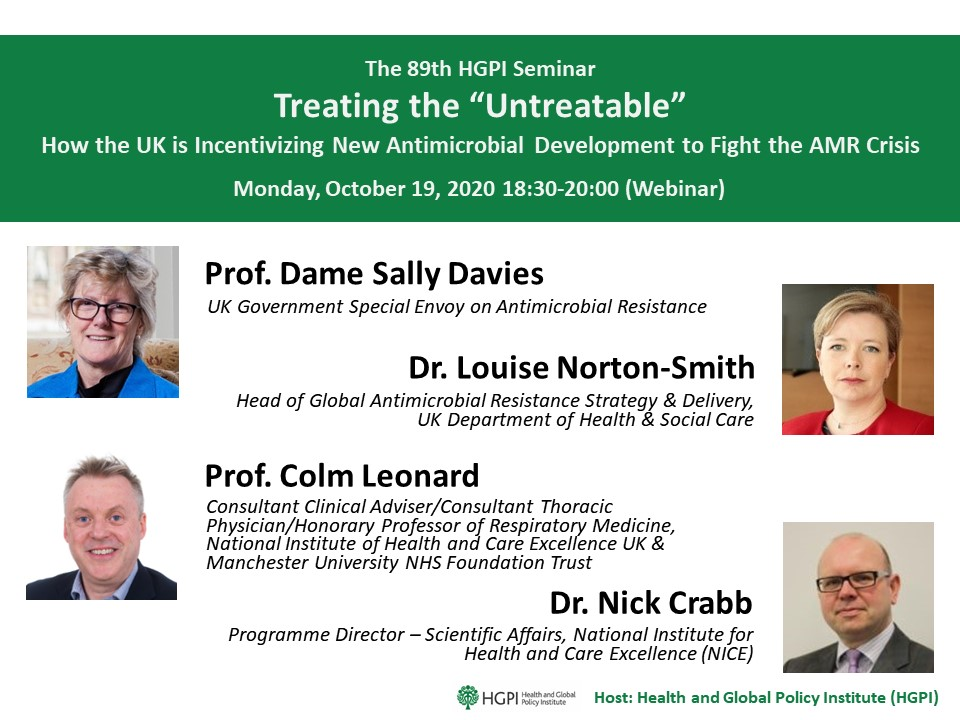 "[Registration Closed] (Webinar)The 89th HGPI Seminar – Treating the ""Untreatable"" – How the UK is Incentivizing New Antimicrobial Development to Fight the AMR Crisis (October 19, 2020)"