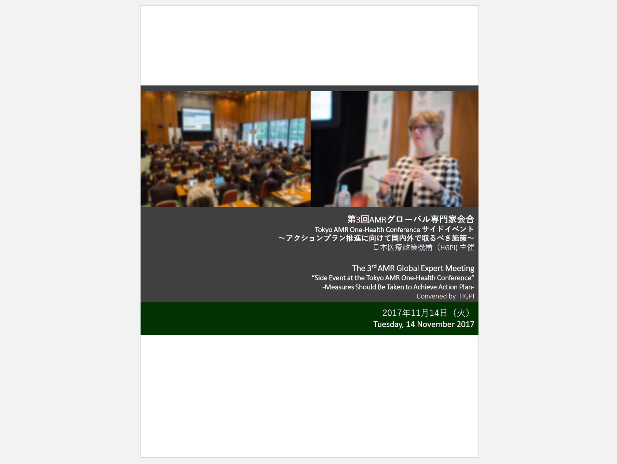 【開催報告・専門家会合まとめ】第3回AMRグローバル専門家会合「Tokyo AMR One-Health Conference サイドイベント~アクションプラン推進に向けて国内外で取るべき施策~」(2017年11月14日)