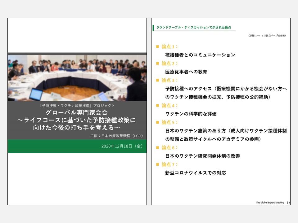 【開催報告】グローバル専門家会合~ライフコースに基づいた予防接種政策に向けた今後の打ち手を考える~(2020年12月18日)
