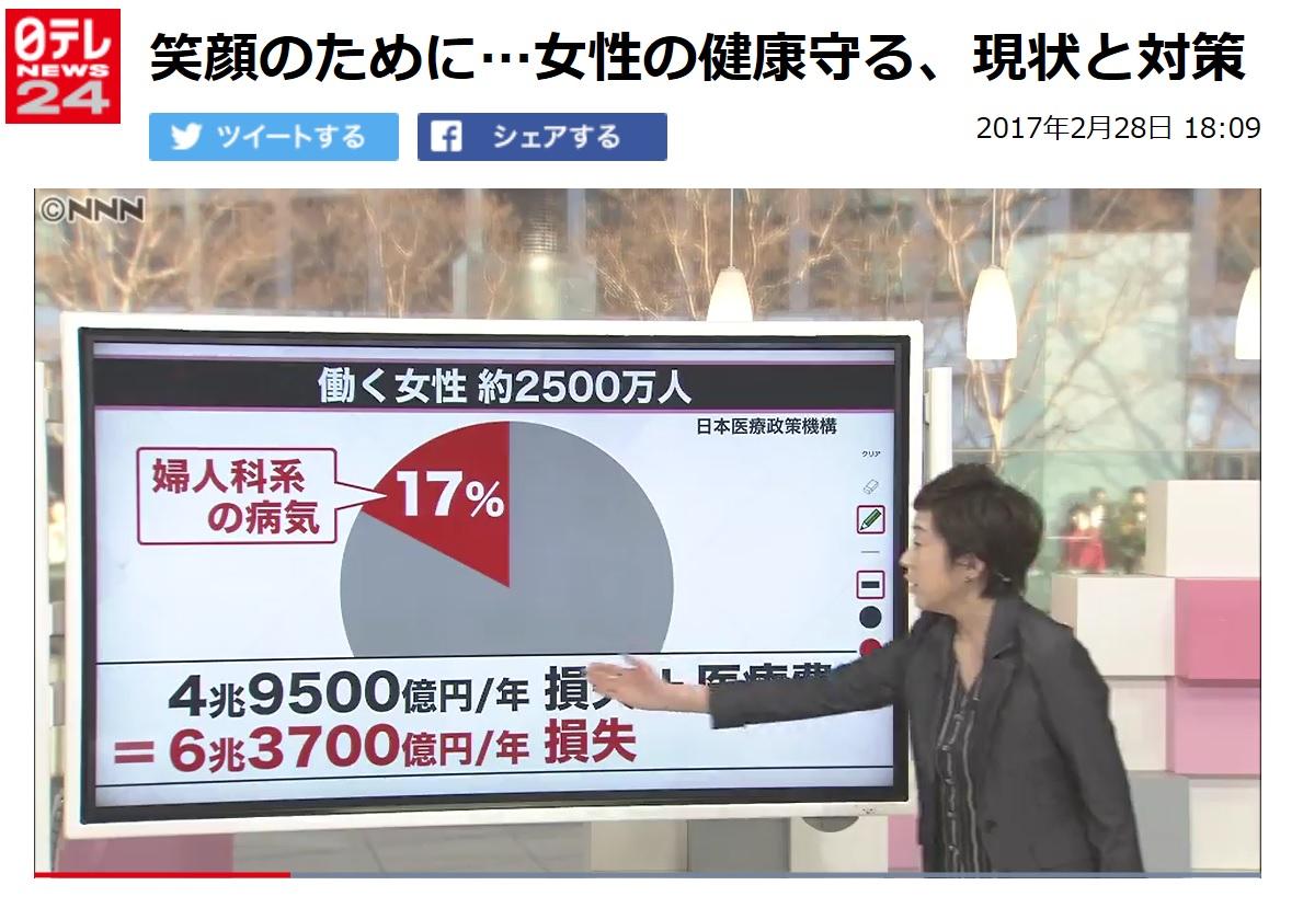 (メディア掲載)「笑顔のために…女性の健康守る、現状と対策」(日本テレビNEWS24、2017年2月28日)
